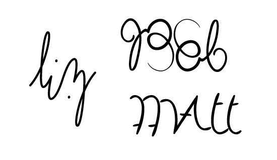 liz bob matt ambigram