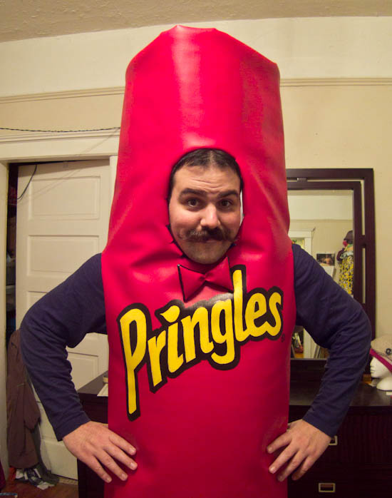 Image result for man dressed as pringles