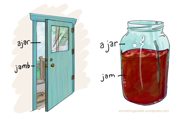 A jar of jam and a jamb, ajar.