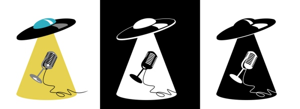 Flying Saucer with Microphone inTractor Beam
